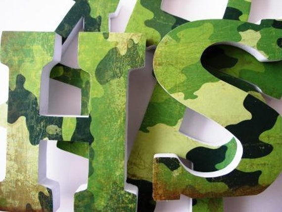 Baby Name Wood Letters Camouflage Theme Boys By LetterLuxe