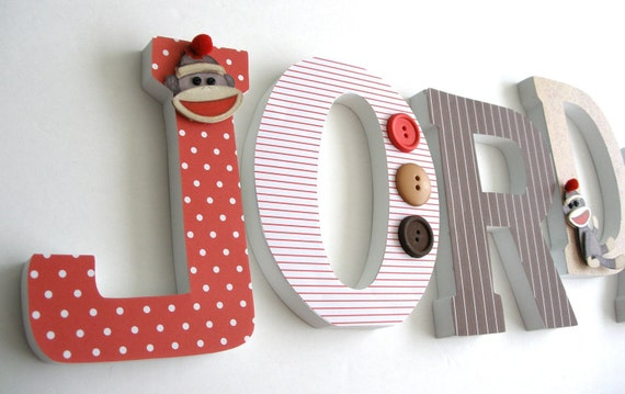 Red & Brown Sock Monkey Wooden Letters, Alphabet Name Art, Decoupage, Unisex Gender Neutral, Nursery Name Décor, Wood Wall Decorations