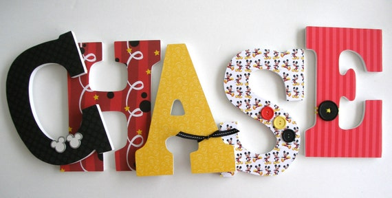 Mickey Mouse Disney Custom Decorated Wooden Letters By