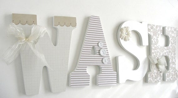 Wash Large Wooden Letters Decoupaged Wooden Letters Laundry