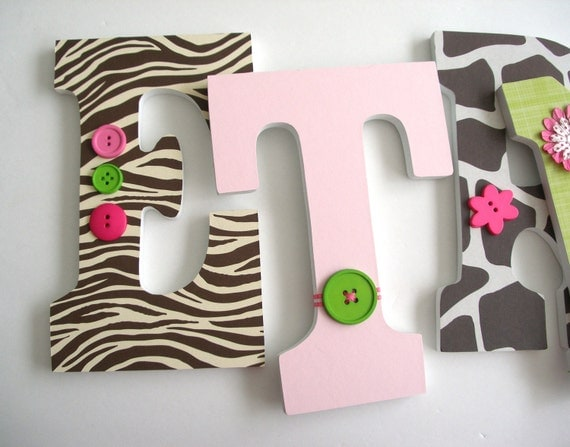 Jungle Custom Wooden Letters Personalized Nursery By