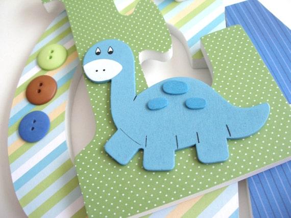 Custom Wood Letter Set - Darling Dinosaur Theme - Nursery Name Décor for Boy