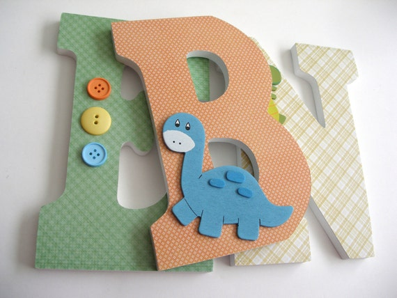 Custom Wood Letters - Orange, Blue, and Green - Dinosaur Theme - Dinos at Play