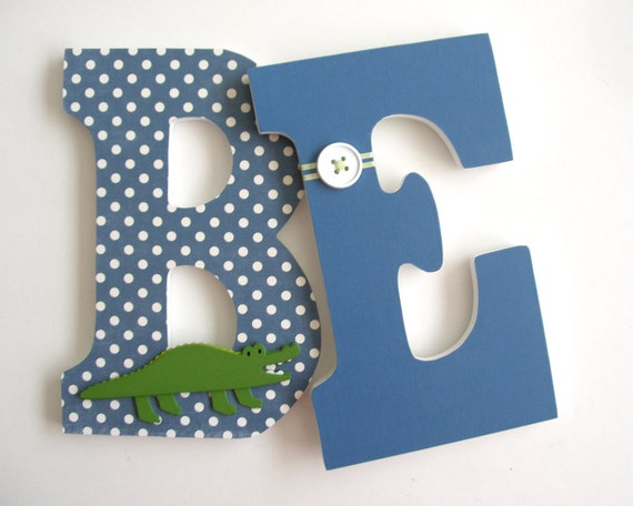 Set Of 2 Decorated 9 Wooden Letters Nursery Name Décor