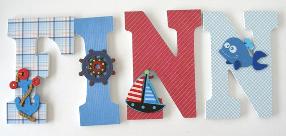 Custom Wood Letter Set - Nautical Nursery - Nursery Name Décor - Baby Shower Gift