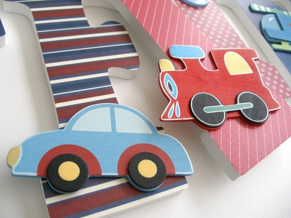 Cars Planes & Trains Custom Wooden Letters By LetterLuxe