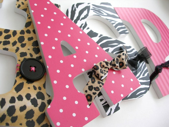 Wooden Nursery Name Letters for Baby Girl - Zebra and Leopard - Animal Print Nursery
