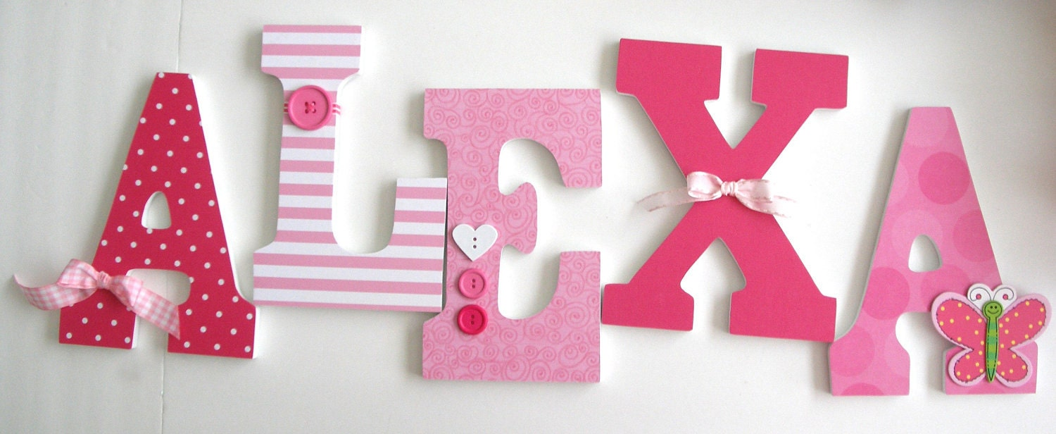 Baby Girl Custom Wooden Letters Pink Butterfly Decor By