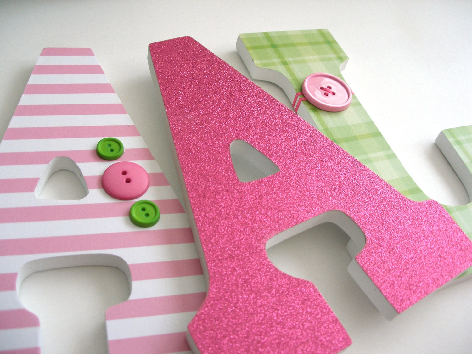 Set Of 3 Decorated 9 Wooden Letters Nursery Name Décor