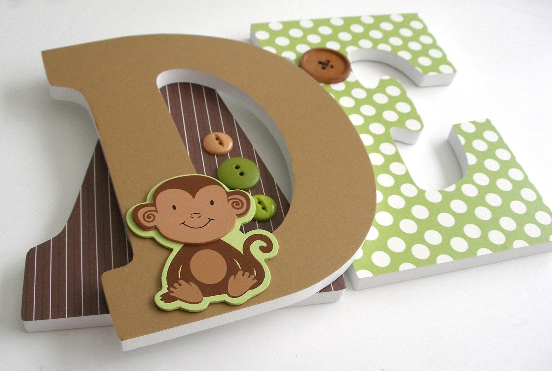 monkey custom wooden letters personalized nursery name decor With personalized wooden letters