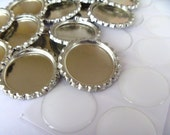 100 flattened bottle caps NO HOLES with 100 epoxy resin domes great as hairbow middles or magnets