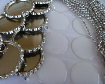 100 complete bottle cap kits with 24 inch  2.4mm ball chains, bottle caps and resin stickers-PRIORITY SHIPPING