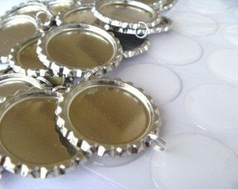 Bottle Cap DIY KIt 15  flattened bottle cap pendants-split ring attached, and 15 epoxy resin stickers