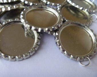 Bottle Cap Supplies -50 Chrome Flattened Bottle Caps - Split Ring Attached