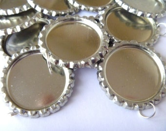 100 flattened bottle cap pendants