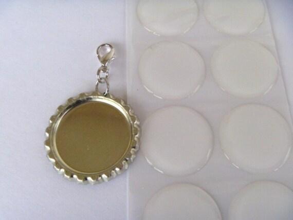 wholesale  bottlecap set of 20 CLIP CAPS DIY kits. 20 flattened bottle caps with clasp attached. 20 epoxy drops