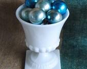 Milk Glass Footed Pedestal Vase