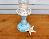 Small Cloche with Distressed White and Turquoise Pedestal Base