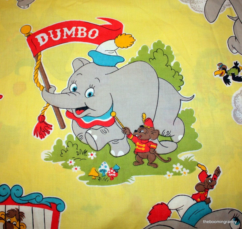 Vintage Dumbo Walt Disney Productions Twin Sheet Fabric