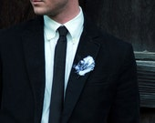 Trent ... Feather and Button Boutonniere with Birdcage Veil
