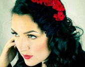 Scarlet ... Black Feather Fascinator with Red Venise Lace