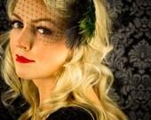 Lilian ... Peacock Fascinator with Black Veiling