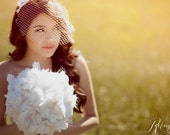 Nora ... White Feather Bouquet with Birdcage Veil Accents