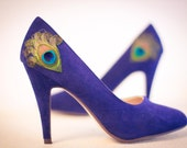 New Years Sale ... Navy Peacock Pumps ... Size 9