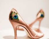 Champagne Satin Peep Toe Pleated Peacock Pump ... ANY SIZE