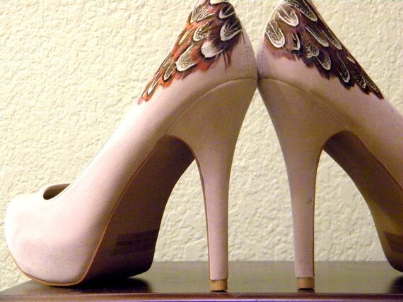 SALE ... 10 Dollars Off Tan Pumps with Brown Almond Feathers ... Size 8