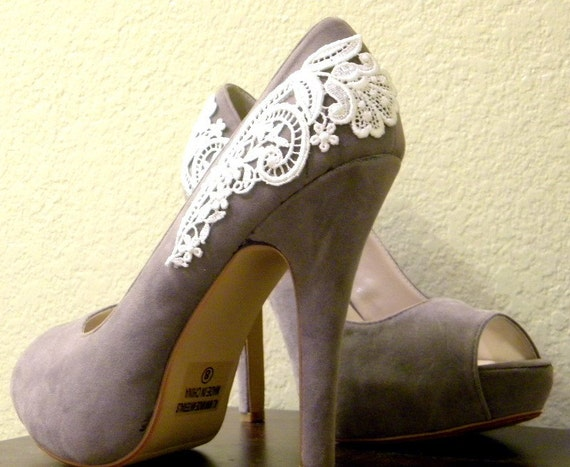 Grey Peep Toe Pumps with White Venise Lace ... Size 5.5