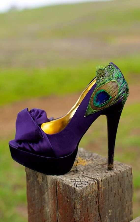 Purple Satin Peacock Pumps .. Size 8
