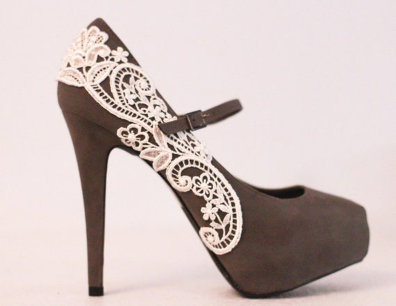 Gray Platform Pumps with Venise Lace .. Size 8