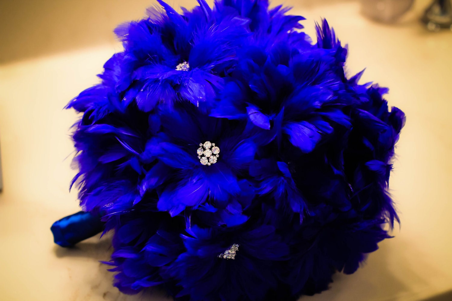 ophelia feather bouquet in royal blue. Black Bedroom Furniture Sets. Home Design Ideas