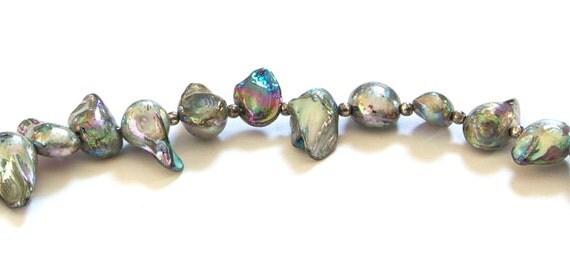 Silver Pearl Bracelet Green Freshwater Blister Pearl Beaded Bracelet by Emma Dickie Design