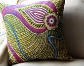 Persian Floral Deluxe CUSHION Throw pillow cover Genuine wax print batik - 18 x 18 inches