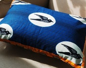 SALE Migrating Birds Blue Pillow cover with Orange Trim - 12 x 18 inches Ready to Ship