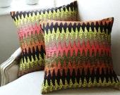 """SALE Set of two - Missoni style chevron 16"""" x 16"""" Throw pillow cases  wax print batik"""