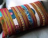 Tribal DayDreamer Pink Patchwork Pillow cover 100% cotton - Deluxe Large OOAK 24 x 16 inches