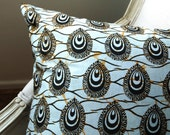 Pale Blue wash Indian Ink Bindi Throw Pillow LARGE CUSHION cover - 20 x 20 inches