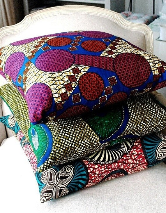 MIX and Match - three large 20 x 20 throw pillow  covers- Genuine wax print batik 100% Cotton