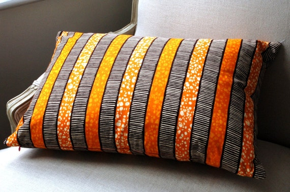 Tangerine Tango Stripes Deluxe CUSHION Throw pillow cover - 40x60cm
