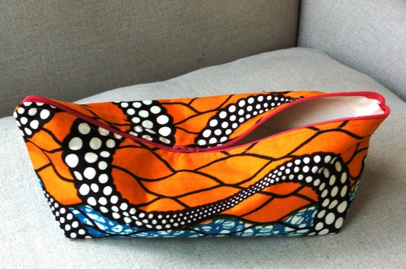 Ochre & Blue Snake cosmetic make up bag - Genuine Wax Batik 100 per cent cotton