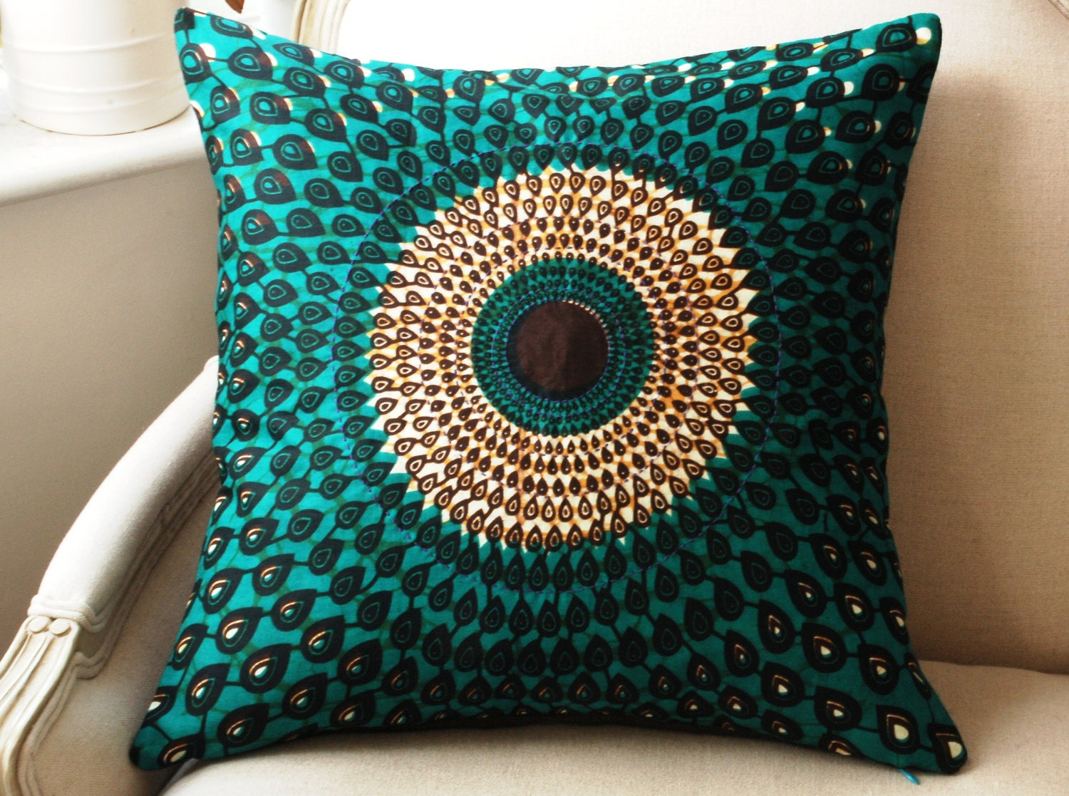 Teal Silk Peacock Pillow Cushion Cover Wax Print Batik