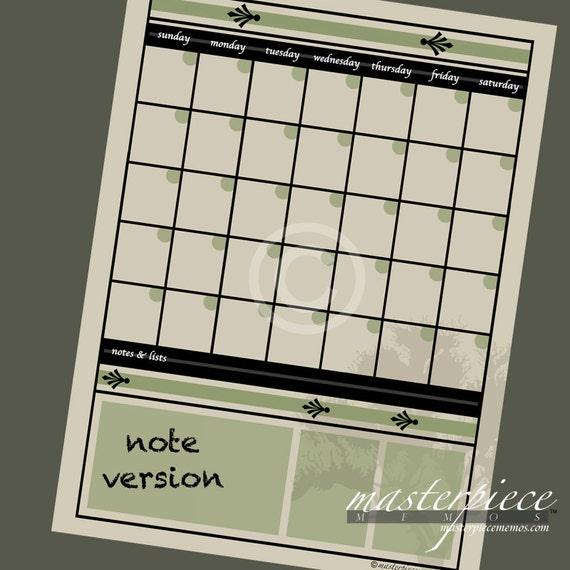 LARGE Beige DRY ERASE Calendar Memo Note Board Print 22x28