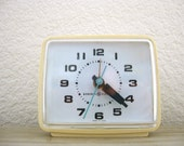 1970s Vintage General Electric Alarm Clock with Aqua Second Hand