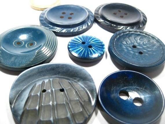 Vintage Lot of 7 Unique Blue Buttons