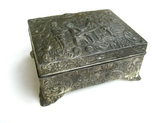 1950s Vintage Metal Dresser Rococo Vignettes Cigarette Box
