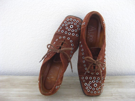 RESERVED for SUV - Vintage RARE Sample A Line by Anne Klein Brown Suede Lace-Up Loafers, size 7