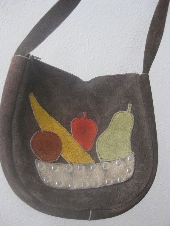 Vintage 1970s Brown Suede Purse with Fruit Detail